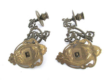 Pair Vintage Solid Brass Piano Candelabra, Set piano candle holders, candle wall sconce.