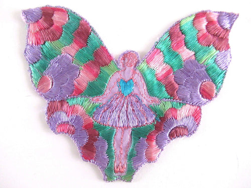 UpperDutch:Applique,Antique Fairy Butterfly / Flapper Girl Fairy Applique, Vintage Patch, Sewing supply, Crazy Quilt.