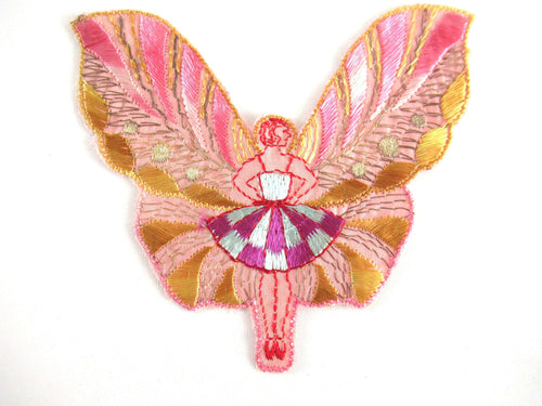 UpperDutch:Applique,Antique Flapper Girl Fairy Applique. Butterfly Patch, Antique Sewing supplies, Silk on Cotton, Crazy Quilt.