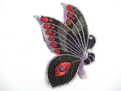 UpperDutch:Applique,Antique Silk on Cotton 1930's Butterfly applique. Vintage patch, sewing supply, Crazy quilt.