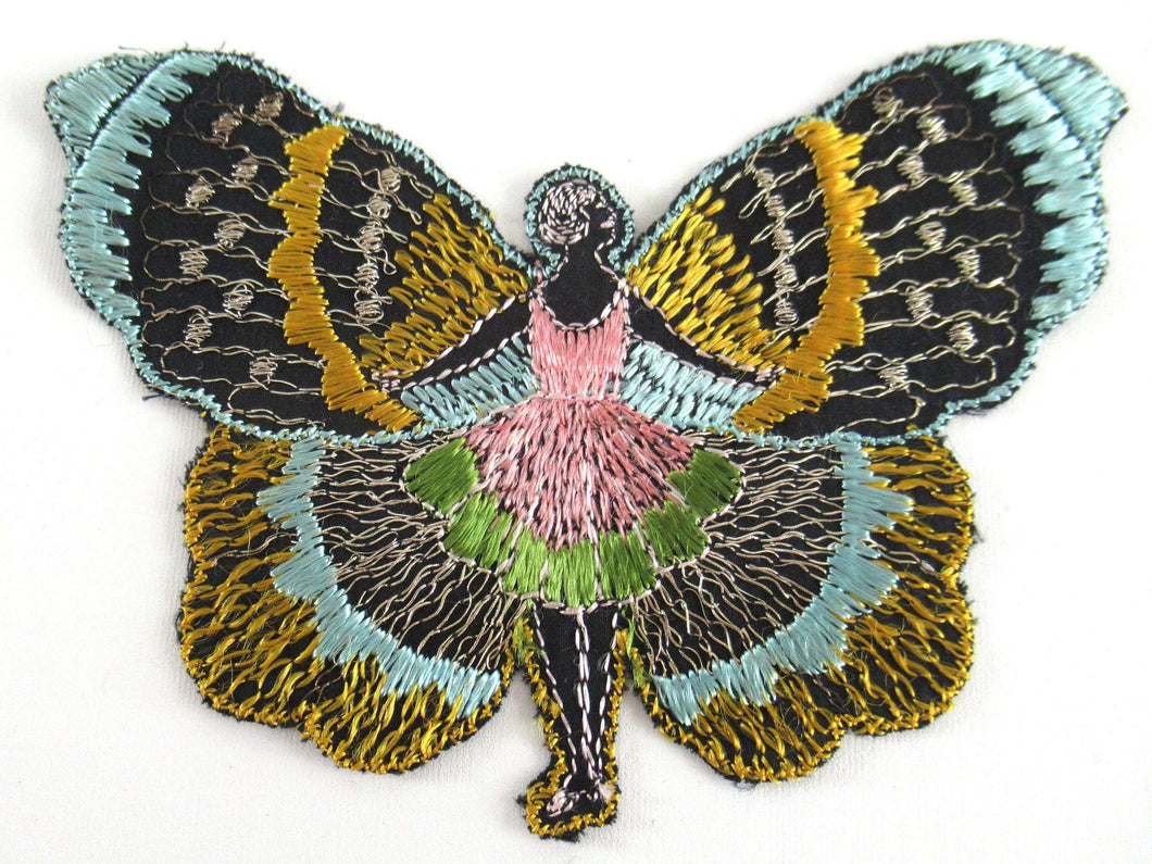 UpperDutch:Applique,Antique Silk on Cotton Fairy Butterfly Applique. Flapper girl Fairy, Vintage patch, sewing supply, crazy quilt.