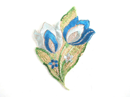 UpperDutch:Applique,Authentic Antique 1930s Silk Flower Tulip Applique, vintage embroidered applique. Floral patch, sewing supply.