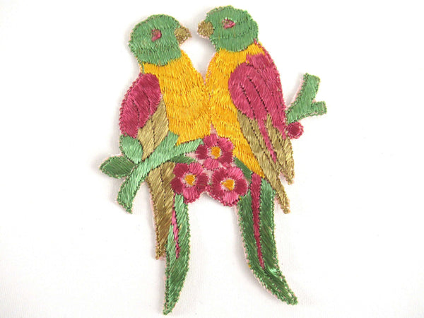 UpperDutch:Applique,Authentic Antique 1930's Silk on Cotton Love Birds, Vintage patch, sewing supply.