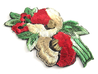 UpperDutch:Applique,Authentic antique 1930s vintage embroidered flower applique. Floral patch, sewing supply.