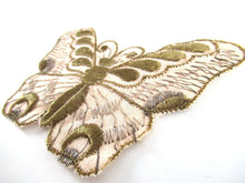 UpperDutch:Applique,Authentic Antique Gold Silk 1930s butterfly applique. Vintage patch, sewing supply, Crazy quilt.