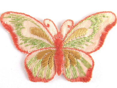 UpperDutch:Applique,Authentic Antique Silk Butterfly applique 1930s. Vintage patch, sewing supply. Crazy quilt.