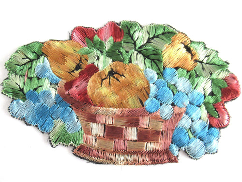 UpperDutch:Applique,Authentic Antique Silk Fruit Basket applique '6 inch'. Vintage patch, sewing supply.