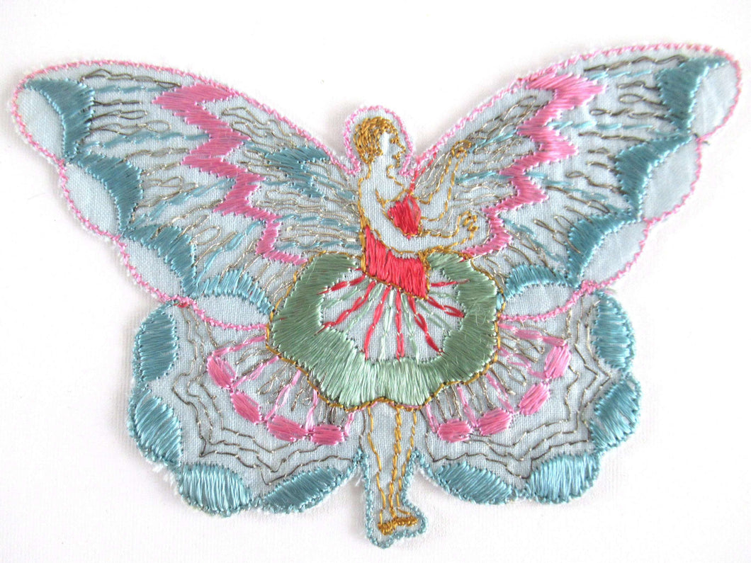 UpperDutch:Applique,Authentic Antique Silk on Cotton Fairy Butterfly Applique. Flapper girl Fairy, Vintage patch, sewing supply, crazy quilt.