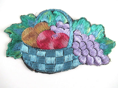 UpperDutch:Applique,Fruit basket applique, 1930s vintage embroidered applique. Vintage patch, sewing supply.