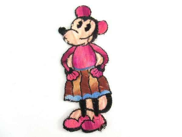 UpperDutch:Applique,RESERVED Antique Minnie Mouse applique, Very rare Collectible 1930's Minnie Mouse Applique, Vintage embroidered applique.