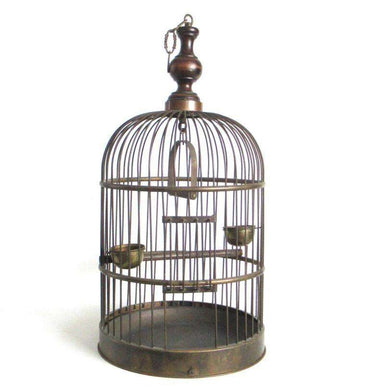 UpperDutch:Birdcage,Antique Brass Birdcage, 24 INCH Solid Brass Birdcage.
