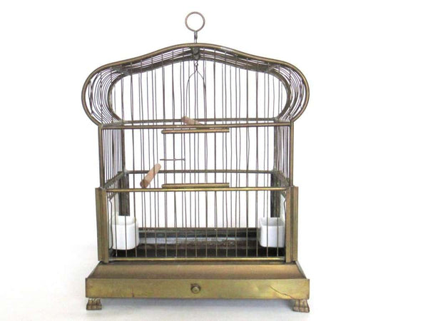 UpperDutch:Birdcage,Antique German Bird Cage with porcelain feeders and glass panels on both sides.