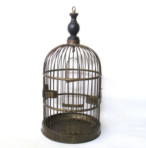 UpperDutch:Birdcage,Antique Standing Birdcage 22 INCH Solid Brass Bird cage.