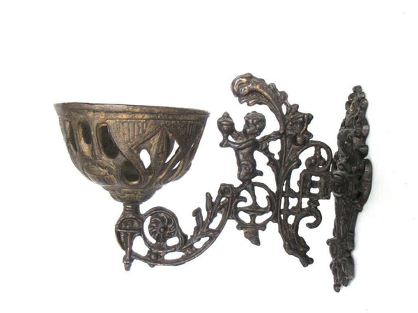 UpperDutch:Candelabras,Antique Oil Lamp Holder with Bracket, Wall Mount Sconce, Candle Wall Sconce. Putti, Old lighting, antique decor, candle holder.