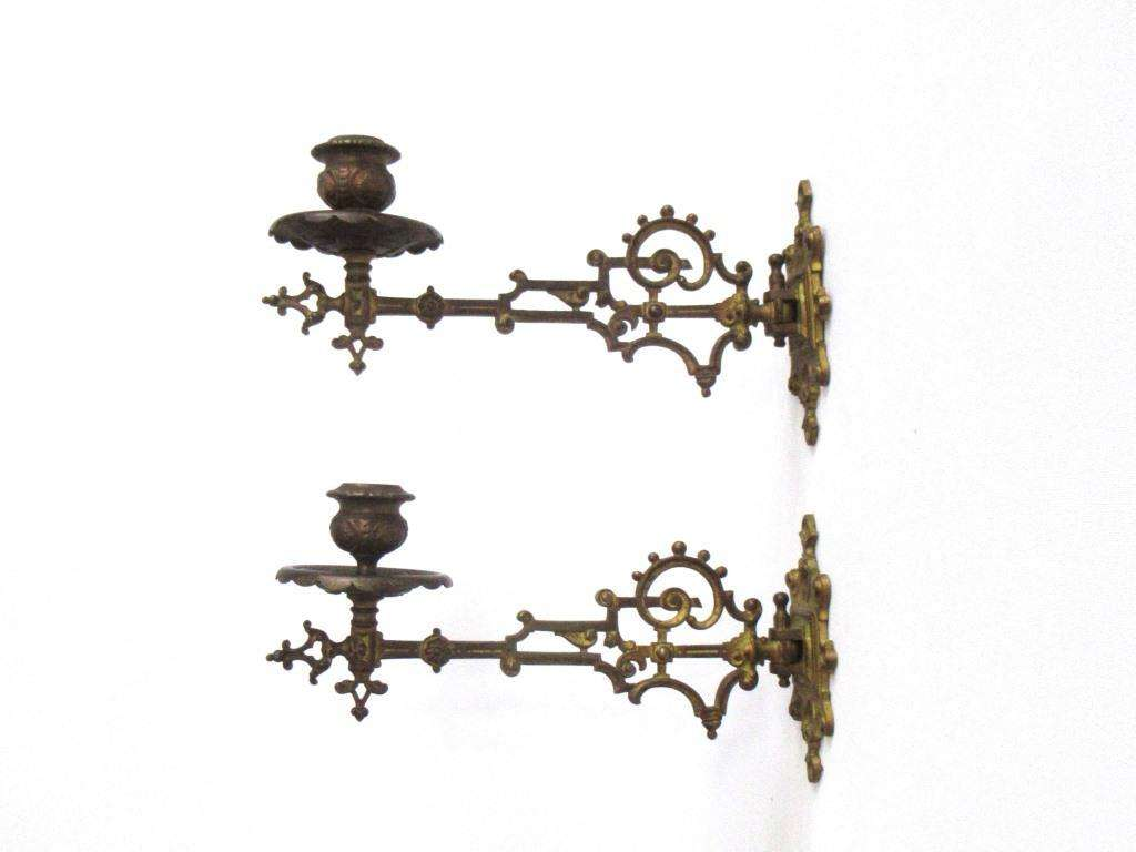 Antique Solid Brass Victorian Piano Wall Sconces Candle Holders Upperdutch