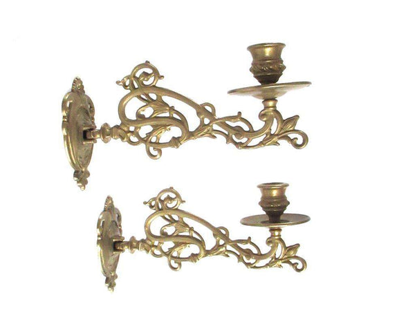 UpperDutch:Candelabra,Pair Vintage Solid Brass Victorian Piano Candelabra, Set piano candle holders, candle wall sconce. Old lighting, antique decor.