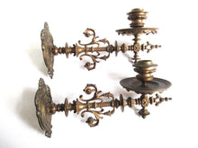 UpperDutch:Candelabra,Piano Sconses, Pair Antique Solid Brass Victorian Piano Candelabra  piano., Candle wall sconce.