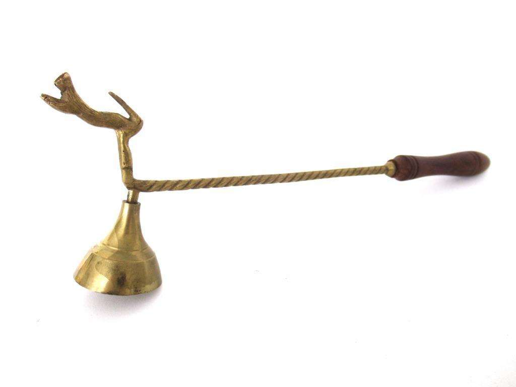 UpperDutch:Candle Snuffers,Antique Brass Candle Snuffer with cat / dog.