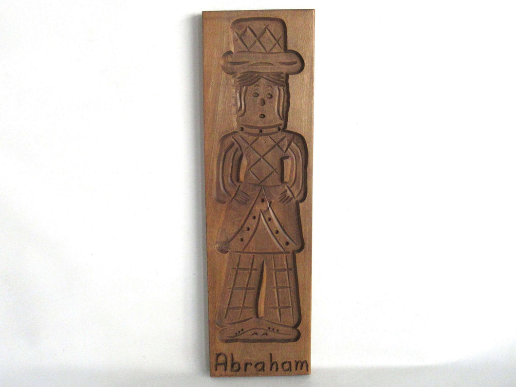 UpperDutch:,Abraham Wooden Dutch Folk Art Cookie Mold. Dutch wood carved mold. Spiced cookie springerle, Bakery decoration.