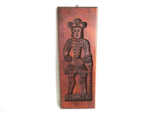 UpperDutch:Cookie Mold,Bakery decoration, Wooden Dutch Folk Art Cookie Mold. Antique. Dutch wood carved man with hat and cane. Spiced cookie springerle.