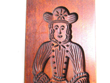 UpperDutch:,Bakery decoration, Wooden Dutch Folk Art Cookie Mold. Antique. Dutch wood carved man with hat and cane. Spiced cookie springerle.
