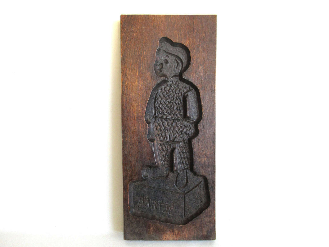 UpperDutch:,Wooden cookie mold, Dutch Folk Art Cookie Mold 'Bartje'. speculaas plank, springerle.