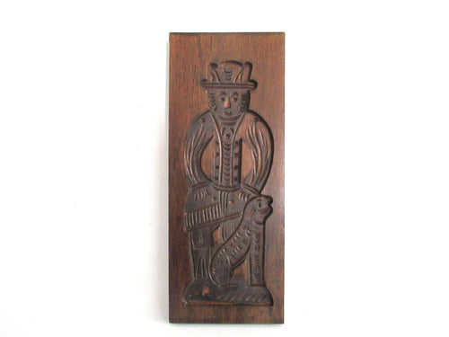 UpperDutch:Cookie Mold,Wooden cookie mold Dutch Folk Art Cookie Mold. speculaas plank, springerle, men with dog.
