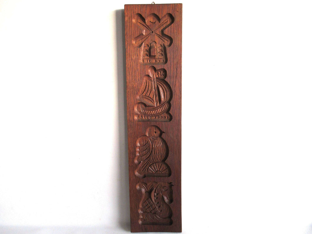 UpperDutch:,Wooden cookie mold,  Dutch Folk Art, speculaas plank, springerle, ship, windmill, bird, seahorse.
