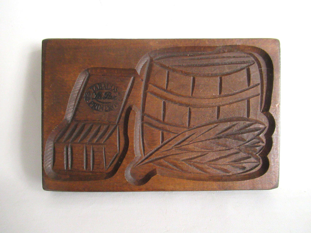 UpperDutch:,Wooden cookie mold with Tobacco Scenes. Wooden Cookie Mold. Tabacos Primeros, La Paz. Springerle.