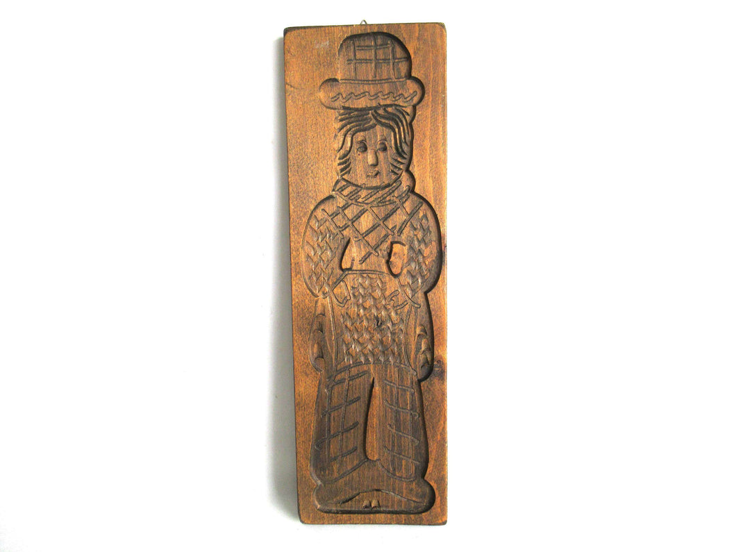 UpperDutch:,Wooden Dutch Folk Art Cookie Mold. Antique Bakery decoration. Wood carved man from Holland. Spiced cookie springerle wall decor.