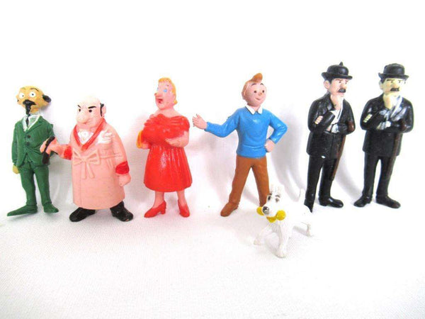 UpperDutch:Figurine,TinTin Set of 7 Vintage Belvision 1973 pvc figurine's Thomson, Snowy, Cuthbert Calculus, Herge, Kuifje.