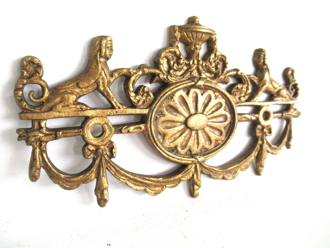 UpperDutch:Furniture applique,1 (ONE) Stunning Heavy Large Brass Antique Cabinet Ornament Furniture Applique Ormolu finish. Decoration mount, Authentic hardware