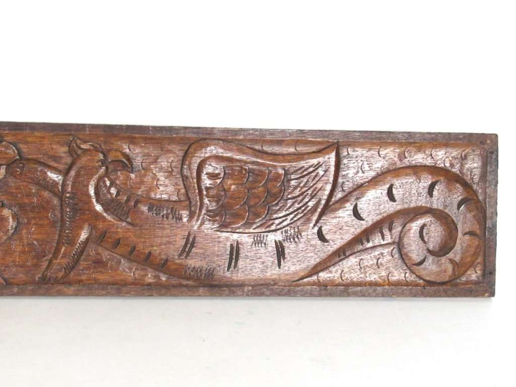 Antique Wooden Carved Panel Dragons Pediment Wooden Panel