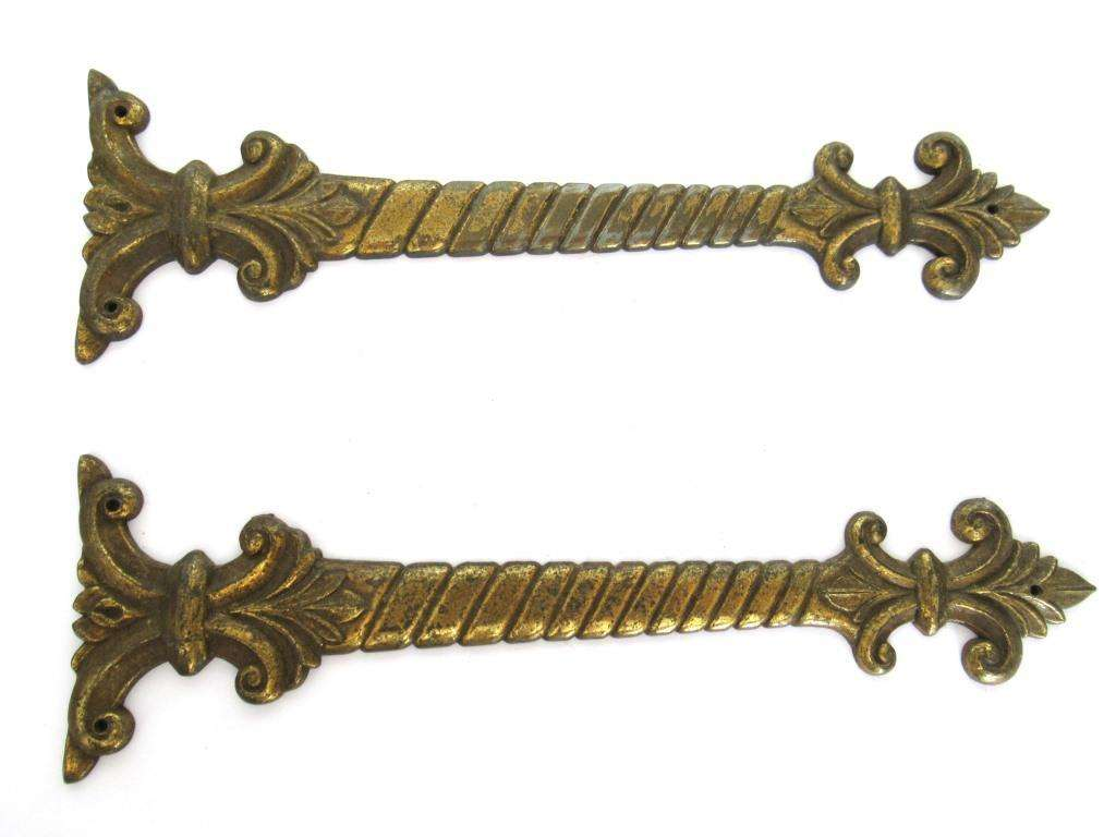 UpperDutch:Furniture applique,Set of 2 Antique ornaments / furniture appliques. Antique decoration hardware for restoration or other projects.