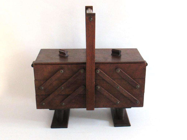 UpperDutch:Furniture,Sewing chest, Antique Wooden Sewing Box on legs. Storage box for sewing supplies or jewelry. Cantilever sewing box.