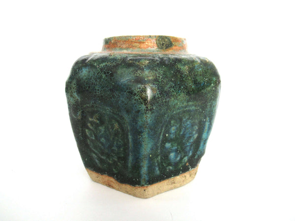 UpperDutch:Ginger Jar,Green Glazed Ginger Jar, Collectible green pottery.