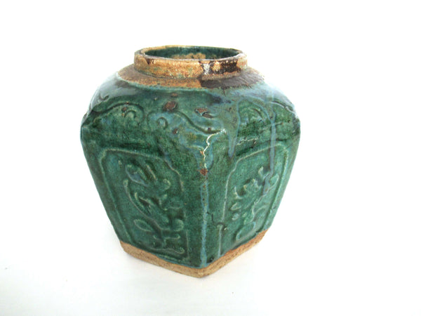 UpperDutch:Ginger Jar,Green Glazed Ginger Jar, Collectible pottery.