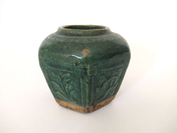 UpperDutch:Ginger Jar,Vintage Glazed Ginger Jar, Collectible green pottery.