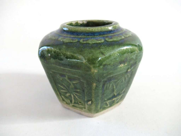 UpperDutch:Ginger Jar,Vintage Green Glazed Ginger Jar Collectible pottery.
