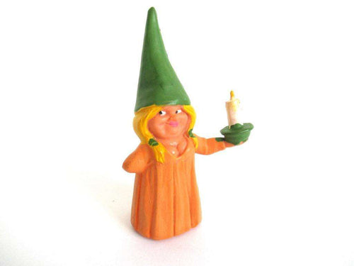 UpperDutch:Gnome,1 (ONE) Gnome after a design by Rien Poortvliet, Brb Gnome holding candle, Lisa the Gnome.