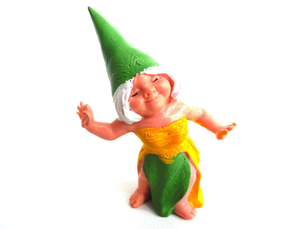 UpperDutch:Gnome,1 (ONE) Gnome figurine, Gnome after a design by Rien Poortvliet, Brb Gnome dancing, Lisa the Gnome.