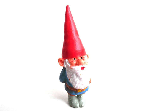 UpperDutch:Gnome,1 (ONE) Gnome figurine, Gnome after a design by Rien Poortvliet, Brb Gnome, David the Gnome. David with hands on his back.