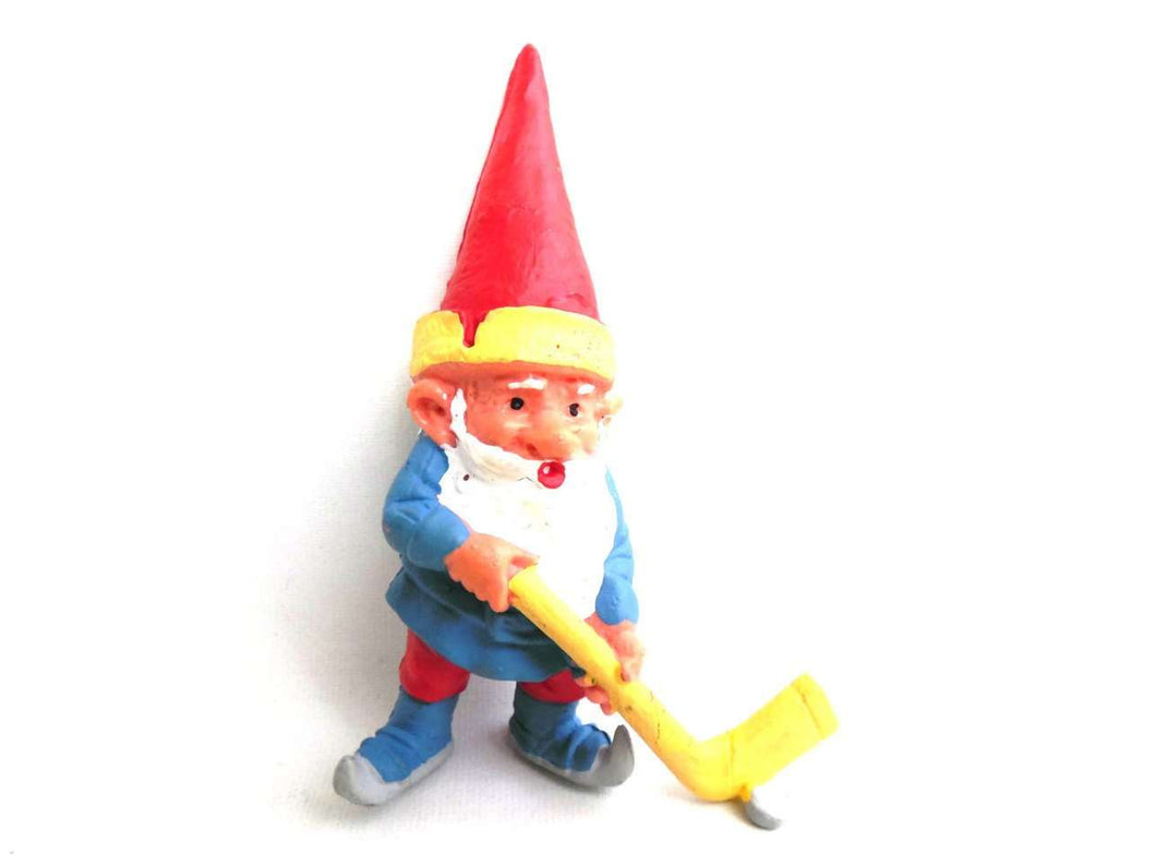 UpperDutch:,1 (ONE) Gnome figurine, Gnome after a design by Rien Poortvliet, Brb Gnome, David the Gnome, gnome playing ice hockey.