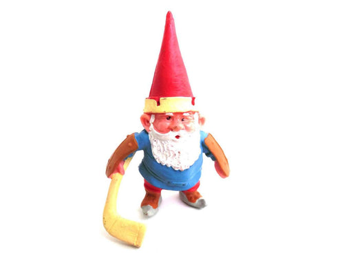UpperDutch:Gnome,1 (ONE) Gnome figurine, Gnome after a design by Rien Poortvliet, Brb Gnome, David the Gnome, gnome playing ice hockey. Goalie
