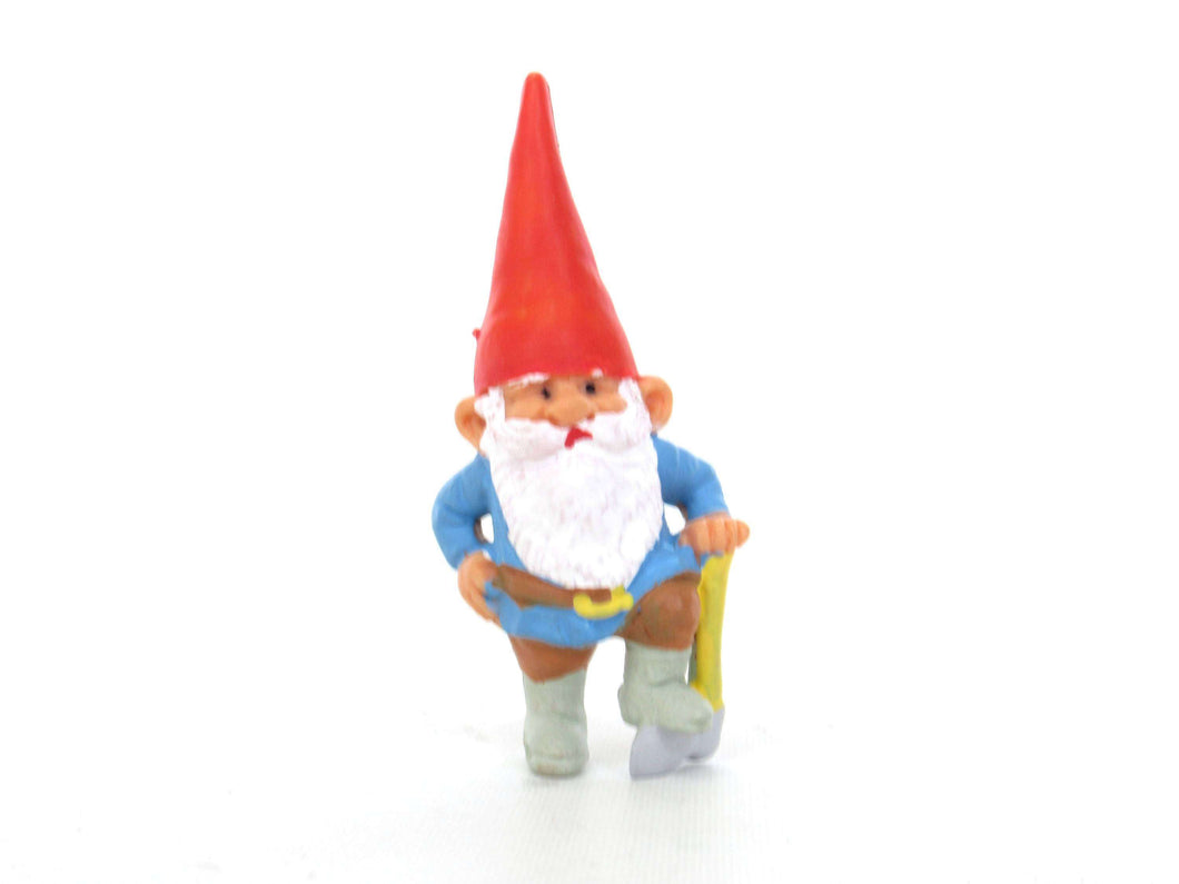 UpperDutch:,1 (ONE) Gnome figurine, Gnome after a design by Rien Poortvliet, Brb Gnome, David the Gnome, miniature gnome with ax. Lumberjack