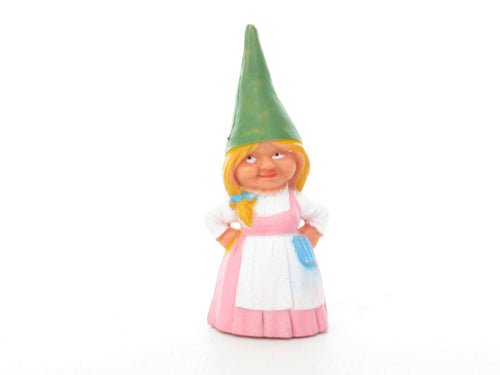 UpperDutch:Gnome,1 (ONE) Gnome figurine, Gnome after a design by Rien Poortvliet, Brb Gnome, Lisa the Gnome. Pink dress.