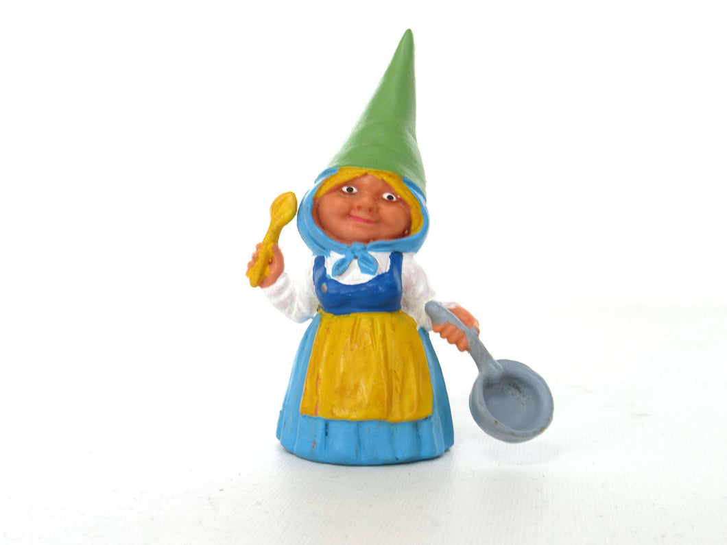 UpperDutch:Gnome,1 (ONE) Gnome figurine in Blue dress after a design by Rien Poortvliet, Brb Gnome cooking, Lisa the Gnome with cooking pan.