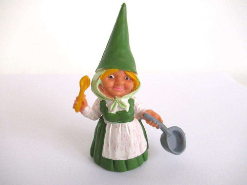 UpperDutch:Gnome,1 (ONE) Gnome figurine in green dress after a design by Rien Poortvliet, Brb Gnome cooking, Lisa the Gnome with cooking pan.