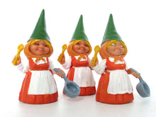 UpperDutch:,1 (ONE) Gnome figurine in Orange dress after a design by Rien Poortvliet, Brb Gnome cooking, Lisa the Gnome with cooking pan.