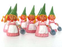UpperDutch:Gnome,1 (ONE) Gnome figurine in Pink dress after a design by Rien Poortvliet, Brb Gnome cooking, Lisa the Gnome with cooking pan.